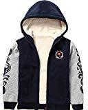 Heavyweight Sherpa Lined Zip Up Fleece Sweatshirts Hoodie Jacket For Boys 7-8years(Navy,140)