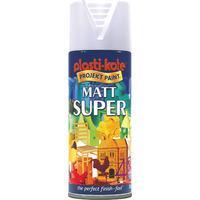 Plastikote Super Enamel Paint Matt White Aerosol 400ml
