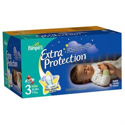 Pampers Extra Protection Nighttime Size 3 Diapers Super Pack - 96 Count