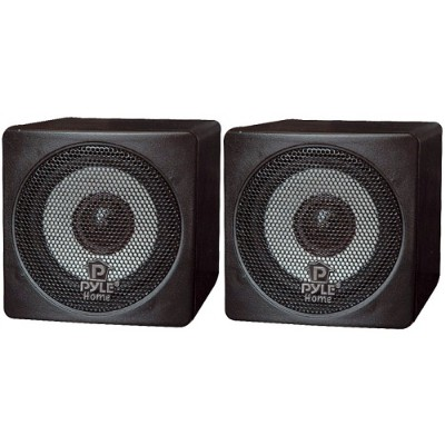Pyle Pcb3bk 3'' 100 Watt Black Mini Cube Bookshelf Speaker - Black  Pair