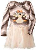 Marmellata Little Girls' Ribbon Turkey Thanksgiving Dress, Multi, 4