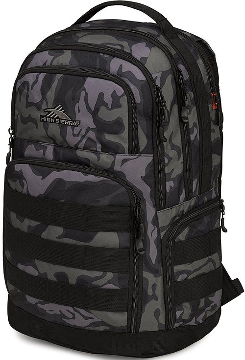High Sierra 87377-6205 Rownan Backpack For 15-inch Computer - Camo, Black