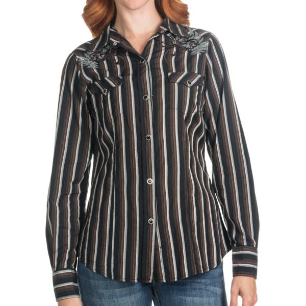 Tin Haul Skull Stripe Shirt - Long Sleeve (For Women)