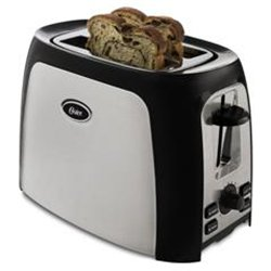 Oster TSSTTR2S4B Calida 2-Slice Toaster Brushed, Stainless Steel/Black