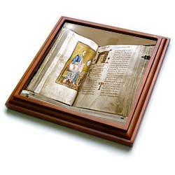 Lectionary, Christianity, Byzantine Museum, Athens, Greece - EU12 PRI0059 - Prisma - 8x8 Trivet With 6x6 Ceramic Tile