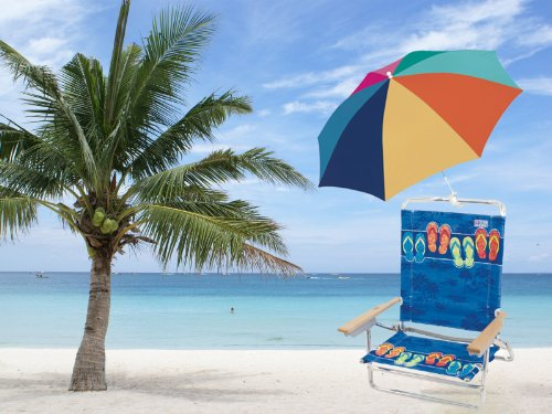 Set of Rio High Back Beach Chair (5 position LayFlat) Model #125 & 4 inch clamp-on chair umbrella