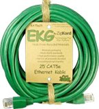 Zipkord EKG Category 5e Ethernet Cable 25ft Green Card