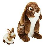 FAO Schwarz 12 inch Rabbit with Bunny - Brown/White