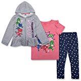 PJ Masks Toddler Girls Set - Catboy, Gekko & Owlette - Owlette Hoodie, T-Shirt & Sweatpants Set (Grey/Pink/Blue, 4T)