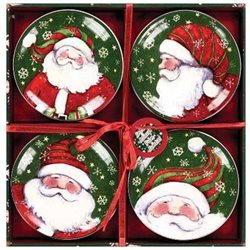 Manual Woodworkers Set of 4 Snow Much Fun Santa Mini Plates Dishes