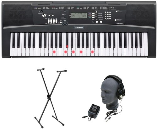Yamaha Yac-ez220 61-lighted Key Portable Keyboard Premium Package With Headphones, Stand And Power Supply - Black