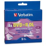 Verbatim DVD R DL AZO 8.5 GB 8x-10x Branded Double Layer Recordable Disc, 5-Disc Slim Case 95311