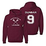 Adult Teen Wolf Beacon Hills Lacrosse Dunbar 9 Hoodie Medium Maroon