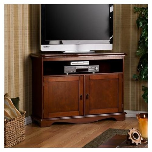 SouthernEnterprises MS6313 Corner TV-Media Stand - Cherry - Wood veneer MDF and particle b