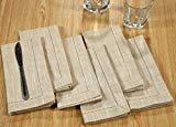Linen Clubs 6Pack Slub Cotton chambray Hemstitched Dinner Napkins-18x18- Beige White