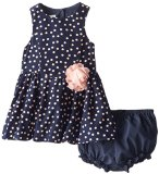 Pippa & Julie Baby-Girls Infant Peachy Dots Dress, Navy, 12 Months