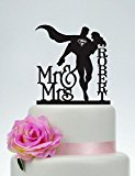 Wedding Cake Topper,Mr and Mrs Cake Topper With last name,Superman and Bride Cake Topper,Custom Cake Topper,Super Hero Wedding C132