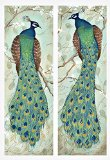 2 Roosting Peacock Art Prints Exotic Animal Home Decor 6x18