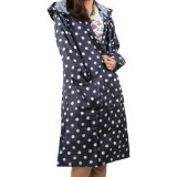 2013newestseller Women's Blue Stylish Slim Longer Polka Dot Raincoat Rain Poncho Rain Bicycle Ridding Cape (Blue)