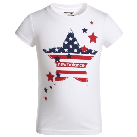 American Flag Star Graphic T-shirt - Short Sleeve (for Little Girls)