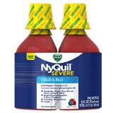 Vicks NyQuil Severe Cold & Flu Nighttime Relief Berry Flavor Liquid Twin Pack 2 x 12 Fl Oz