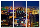 Picture Sensations Framed Huge 3-Panel City Skyline Casino Las Vegas Strip Giclee Canvas Art