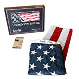 Annin Flagmakers Model 2460 American Flag 3x5 ft. Nylon SolarGuard Nyl-Glo, 100% Made in USA with Sewn Stripes, Embroidered Stars and Brass Grommets.