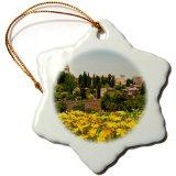 Danita Delimont - Julie Eggers - Gardens - Spain, Granada. The Generalife gardens, Alhambra grounds. - Ornaments - 3 inch Snowflake Porcelain Ornament (orn_188632_1)