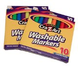 Crazart 10 Assorted Washable Markers 2pack