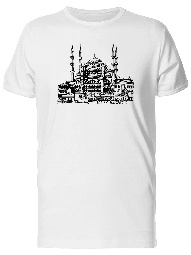 Blue Mosque Istanbul City Sketch Tee Men's -Image by Shutterstock