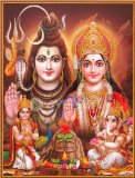 Lord Shiva / Shree Shankar / God Shiva with Parvati, Ganesha and Kartikeya / Mahadev Poster (Size: 9X11 Inches Unframed)