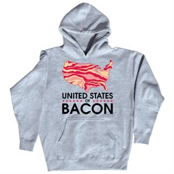 States of Bacon - Mens Pullover Hooded Sweatshirt - Athletic heather - 2 X-Large