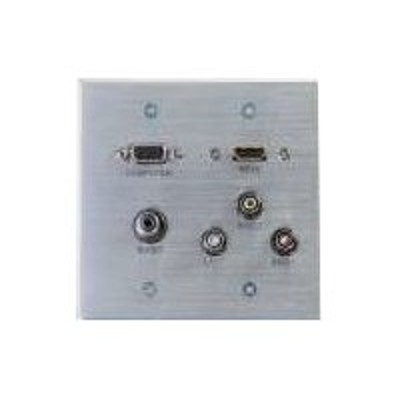 C2g 39704 Hdmi  Vga  3.5mm  Composite Video And Stereo Audio Pass-through Wall Plate - Mounting Plate - Hd-15  Rca X 3  Mini-phone Stereo 3.5 Mm  Hdmi - Aluminu