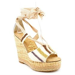Sam Edelman Trey Womens Nude Canvas Wedge Sandals Shoes
