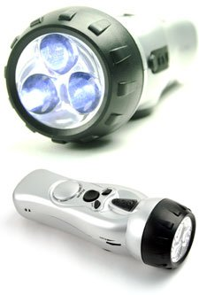 Illuminator Self Powered 4-in-1 FM Radio, Alarm, 3 White focused LED flashlight and Mobile phone charger Crank Powered