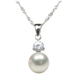 Cultured Pearl and sparkling Cz Stone Pendant