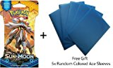 Pokemon TCG: Single Pokemon Sun and Moon Booster Pack   Free Gift (Free 5x Ace Baby Blue Metallic Card Sleeves)
