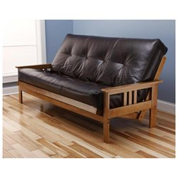 Andover Full Size Futon Sofa Bed, Honey Oak Wood Frame, Bonded Leather Innerspring Mattress, Java