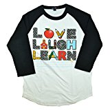 Love, Laugh, Learn Teacher 3/4 Raglan White with Black Sleeves - XL - Tees2urdoor