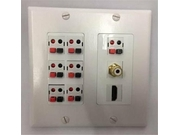 Certicable White Double Gang Wall Plate Surround Sound 7- Push Button Speaker 1-hdmi 1-rca