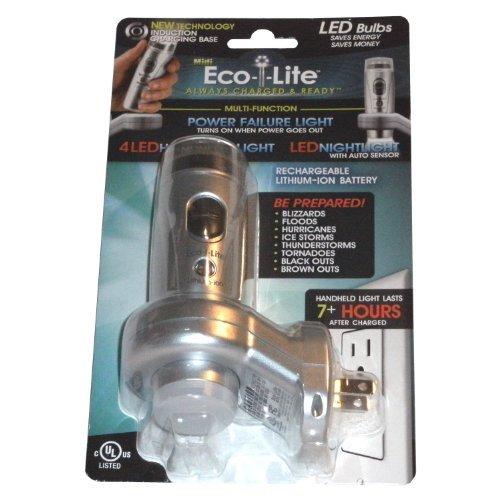 Capstone Industries 565 Eco-i-Lite White Mini Lithium-Ion 3-LED Power Failure Nightlight and Flashlight