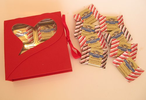 Mother's Day Red Open Window Box with Ghirardelli Peppermint Bark Squares Great gift for Mothers, Grandmothers on Mother's Day