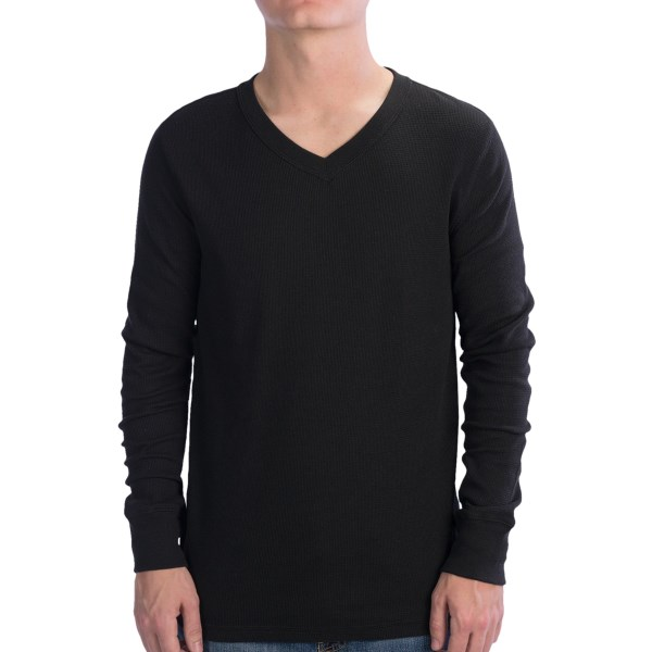Hanes V-Neck Waffle Shirt - Long Sleeve (For Men)