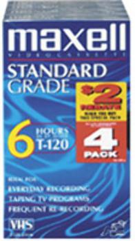 Standard-Grade VHS videocassette 4 Pack