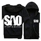 Sword Art Online SAO Kirigaya Kazuto Logo Long Sleeve Hoodies Coat Black XL