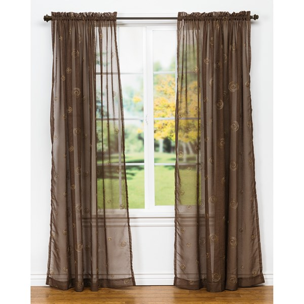 United Curtain Co. Sedona Embroidered Semi-sheer Curtains - 108x84?, Rod-pocket Top
