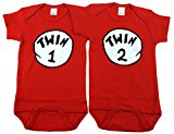 Gender Neutral Baby Bodysuits, Includes 2 Bodysuits, 0-3 Month Twin 1 Twin 2
