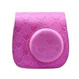 Pratical Camera Case Bag Holder DZT1968® Fuji Fujifilm Instax Mini 8 Mini8s Leather Camera Case Bag (Hot Pink)