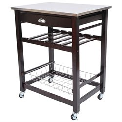 HomCom Rolling Stainless Steel Kitchen Dining Cart Trolley