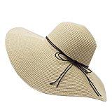 YUUVE Ladies Summer Straw Hat Fedora Floppy Sun Hat Large Wide Brim Beach Cap For Women(Free Ribbon Gift)